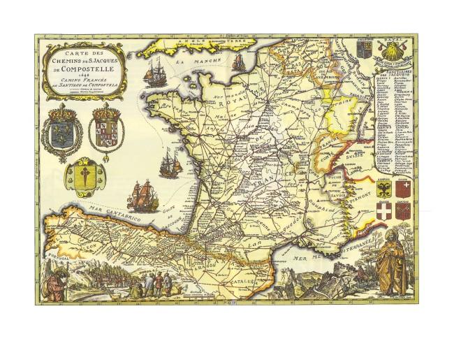 chemin saint jacques de compostelle carte Carte des Chemins de St Jacques de Compostelle en 1648